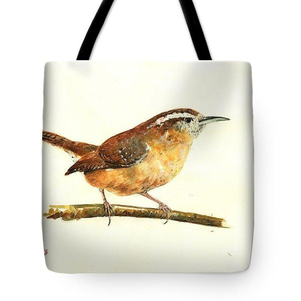 Carolina Wren Watercolor Painting Tote Bag by Juan  Bosco