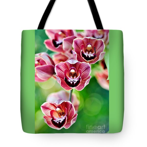 Cascading Miniature Orchids Tote Bag by Kaye Menner