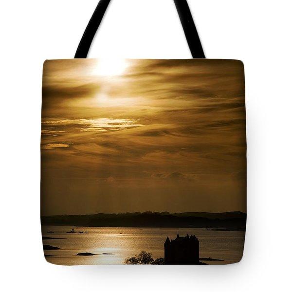 Castle Stalker At Sunset, Loch Laich Tote Bag by John Short