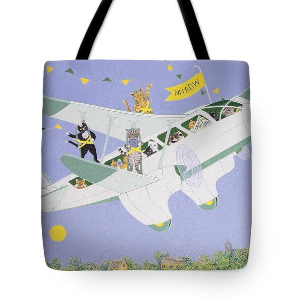 Cat Air Show Tote Bag by Pat Scott