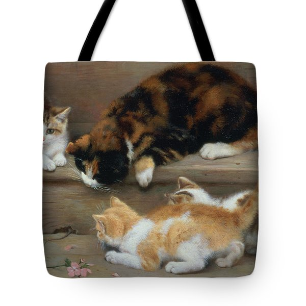 Cat And Kittens Chasing A Mouse   Tote Bag by Rosa Jameson
