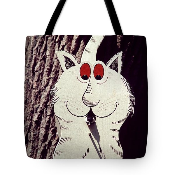 Cat Bird House With Bird Tote Bag by Sally Weigand