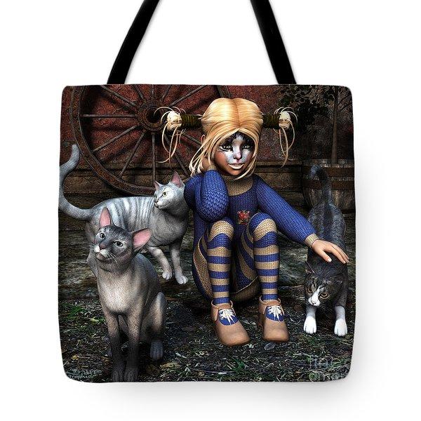 Cat Girl Tote Bag by Jutta Maria Pusl