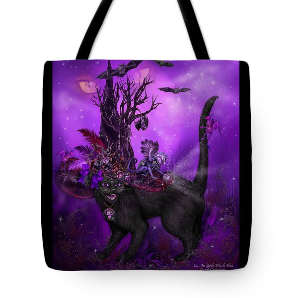 Cat In Goth Witch Hat Tote Bag by Carol Cavalaris