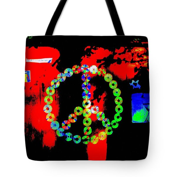 Cd Peace Cycle Tote Bag by Connie Valasco