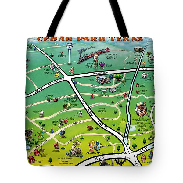 Cedar Park Texas Cartoon Map Tote Bag by Kevin Middleton