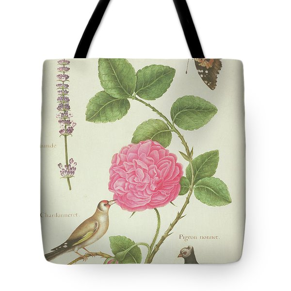 Centifolia Rose, Lavender, Tortoiseshell Butterfly, Goldfinch And Crested Pigeon Tote Bag by Nicolas Robert