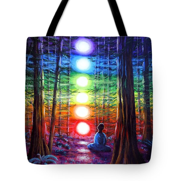 Chakra Meditation In The Redwoods Tote Bag by Laura Iverson