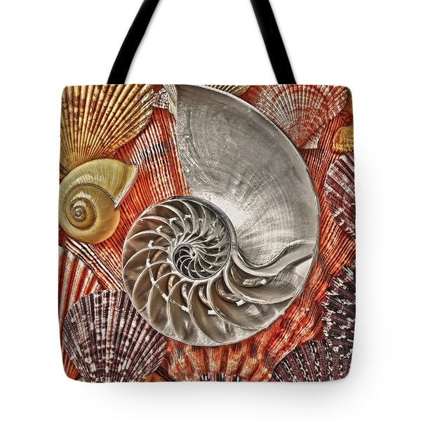 Chambered Nautilus Shell Abstract Tote Bag by Garry Gay
