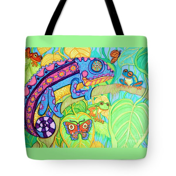Chamelion And Rainforest Frogs Tote Bag by Nick Gustafson