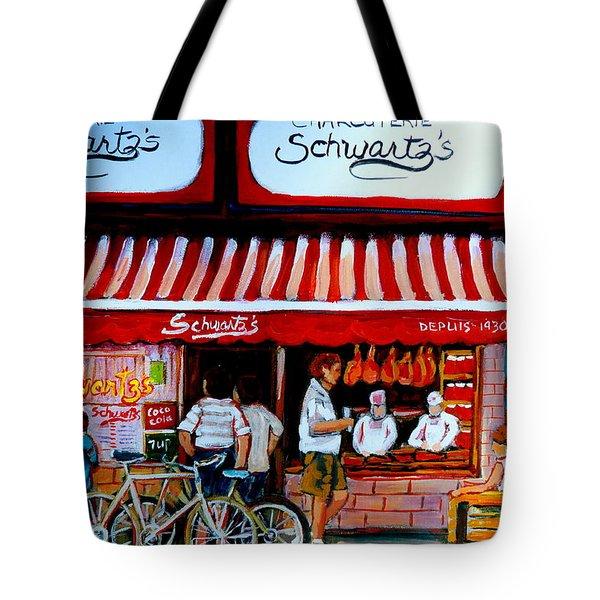 Charcuterie Schwartz's Deli Montreal Tote Bag by Carole Spandau