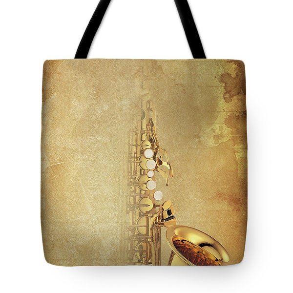 Charlie Parker Saxophone Brown Vintage Poster And Quote, Gift For Musicians Tote Bag by Pablo Franchi
