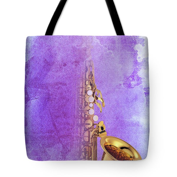 Charlie Parker Saxophone Purple Vintage Poster And Quote, Gift For Musicians Tote Bag by Pablo Franchi