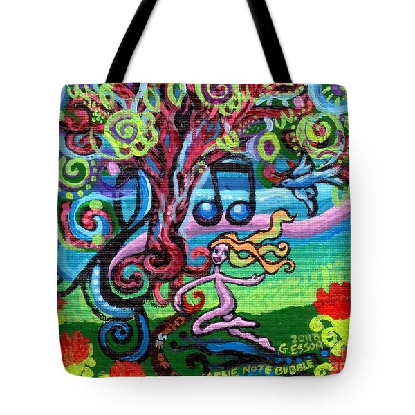 Chase Of The Faerie Note Bubble Tote Bag by Genevieve Esson