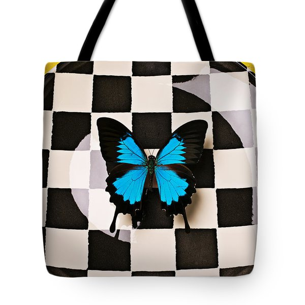 Checker plate and blue butterfly Tote Bag by Garry Gay