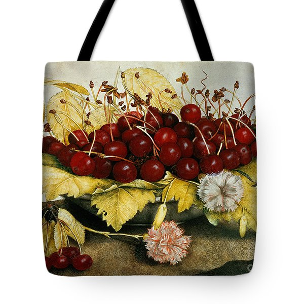 Cherries And Carnations Tote Bag by Giovanna Garzoni