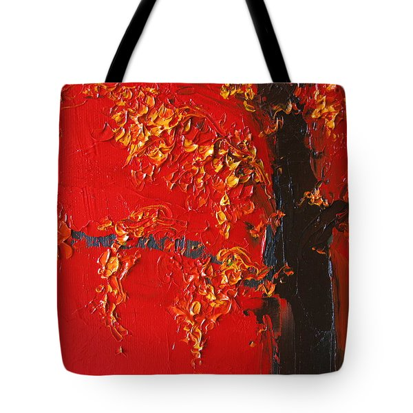 Cherry Blossom Tree - Red Yellow Tote Bag by Patricia Awapara
