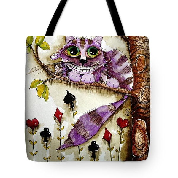 Cheshire Cat Tote Bag by Lucia Stewart
