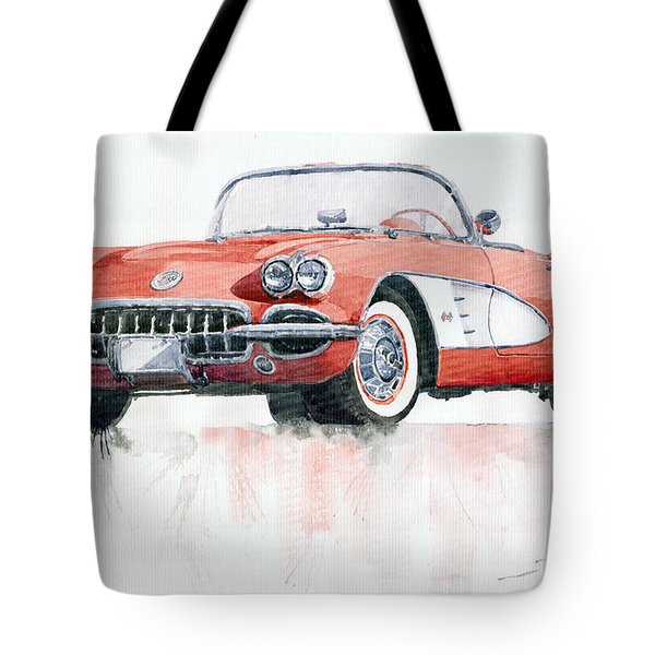 Chevrolet Corvette C1 1960  Tote Bag by Yuriy  Shevchuk