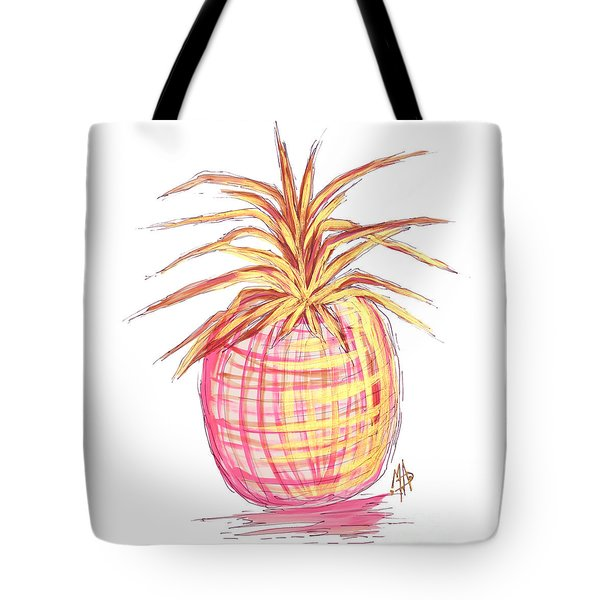 Chic Pink Metallic Gold Pineapple Fruit Wall Art Aroon Melane 2015 Collection By Madart Tote Bag by Megan Duncanson