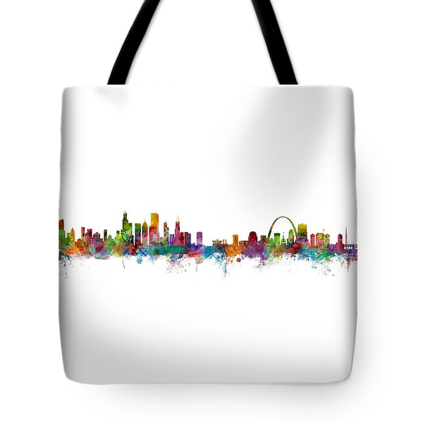 Chicago And St Louis Skyline Mashup Tote Bag by Michael Tompsett