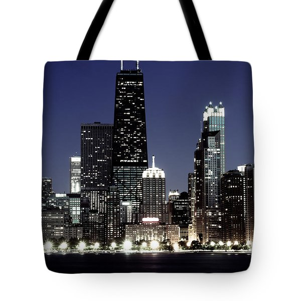 Chicago At Night High Resolution Tote Bag by Paul Velgos