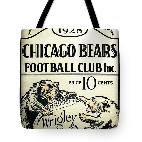 Chicago Bears Football Club Program Cover 1928 Tote Bag by Daniel Hagerman