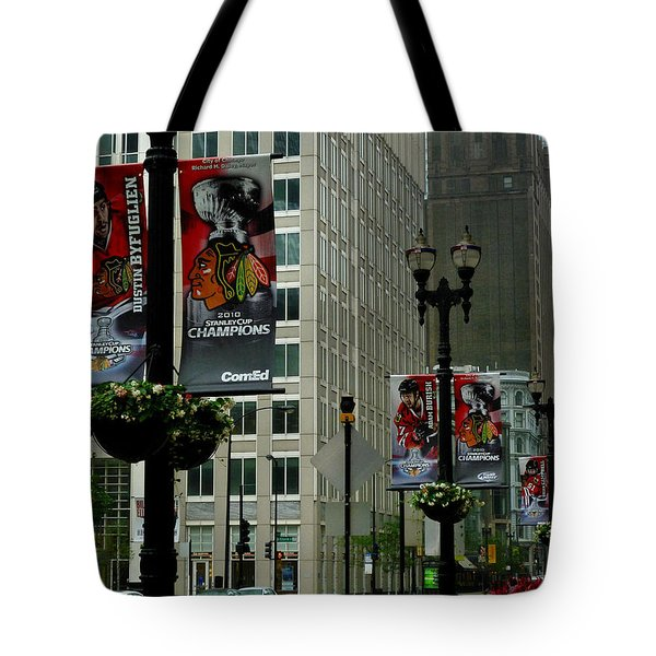 Chicago Blackhawk Flags Tote Bag by Ely Arsha