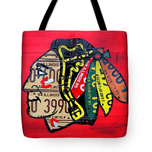 Chicago Blackhawks Hockey Team Vintage Logo Made From Old Recycled Illinois License Plates Red Tote Bag by Design Turnpike