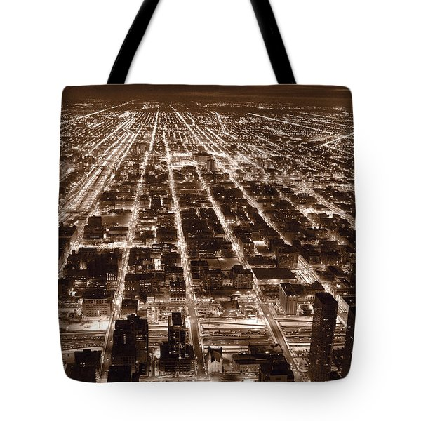 Chicago City Lights West B W Tote Bag by Steve Gadomski