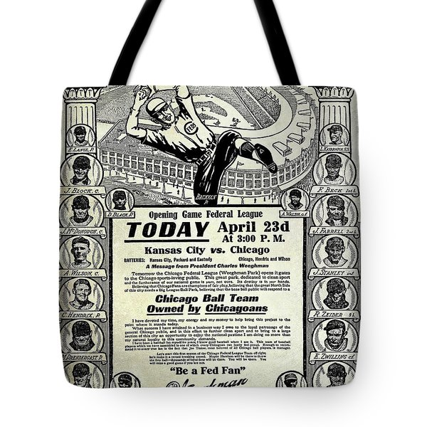 Chicago Cub Poster Tote Bag by Jon Neidert