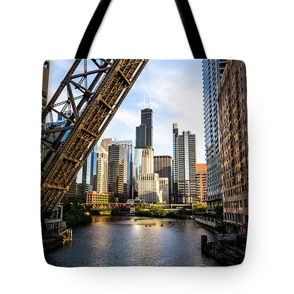 Chicago Downtown And Kinzie Street Railroad Bridge Tote Bag by Paul Velgos