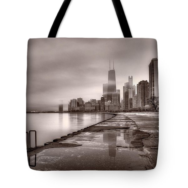 Chicago Foggy Lakefront BW Tote Bag by Steve Gadomski