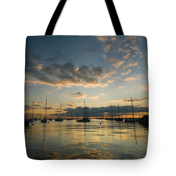 Chicago Harbor Sunrise Tote Bag by Steve Gadomski