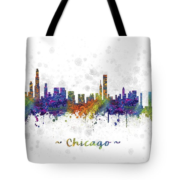 Chicago Illinois Skyline Color 03sq Tote Bag by Aged Pixel