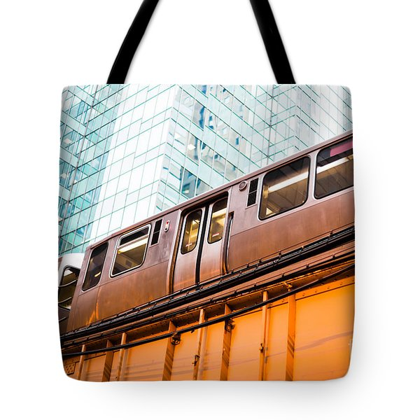 Chicago L Elevated Train  Tote Bag by Paul Velgos