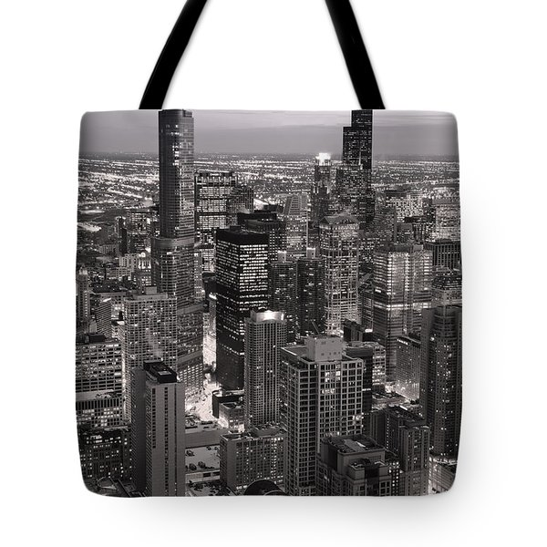 Chicago Loop Sundown B and W Tote Bag by Steve Gadomski