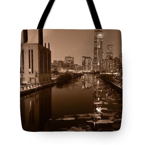 Chicago River B And W Tote Bag by Steve Gadomski