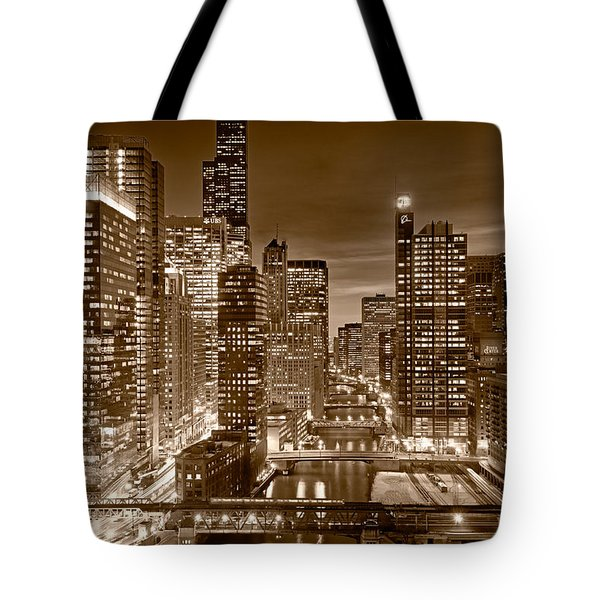 Chicago River City View B and W Tote Bag by Steve gadomski