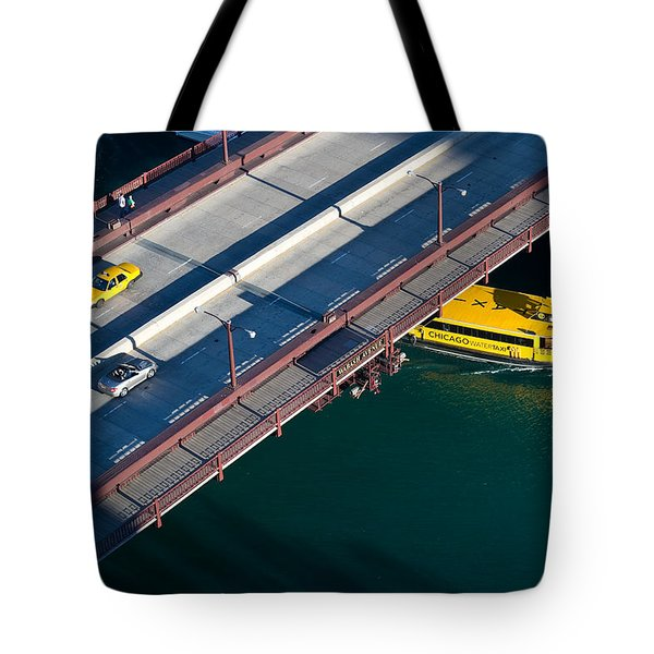 Chicago River Crossing Tote Bag by Steve Gadomski