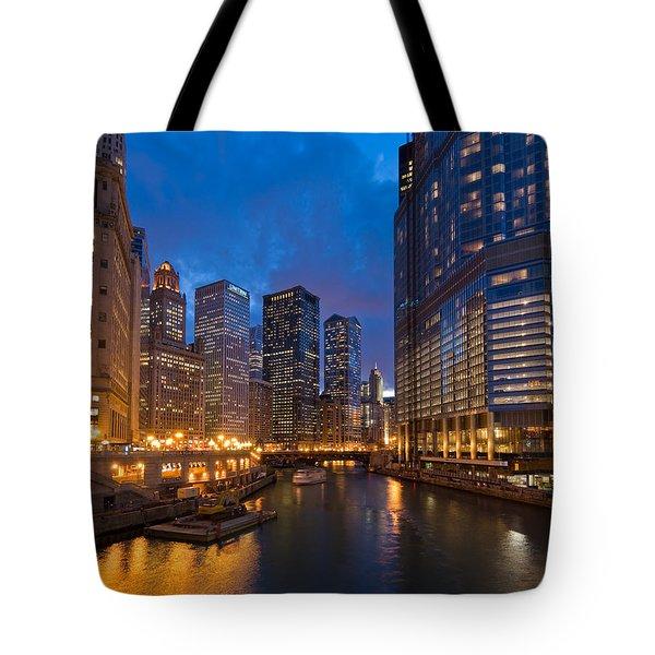 Chicago River Lights Tote Bag by Steve Gadomski