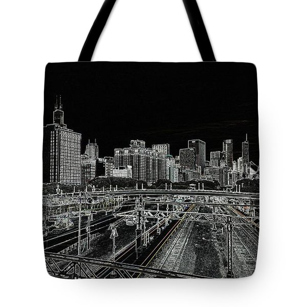Chicago Skyline And Tracks Tote Bag by Britten Adams