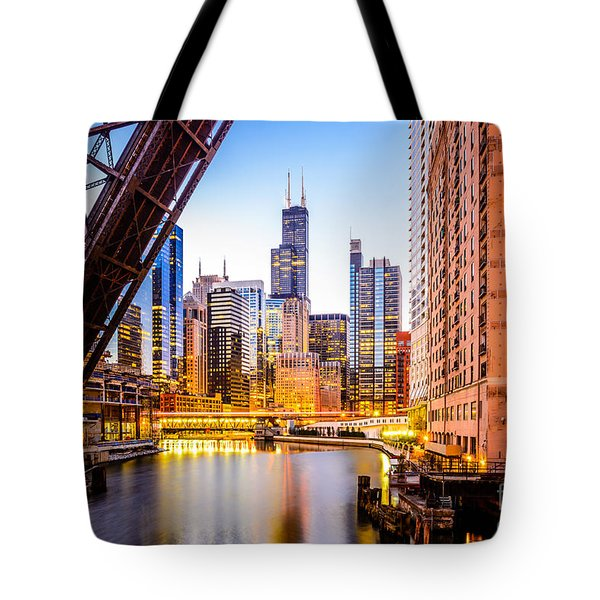 Chicago Skyline At Night And Kinzie Bridge Tote Bag by Paul Velgos