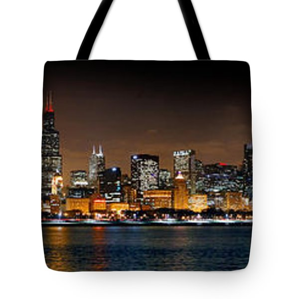 Chicago Skyline At Night Extra Wide Panorama Tote Bag by Jon Holiday