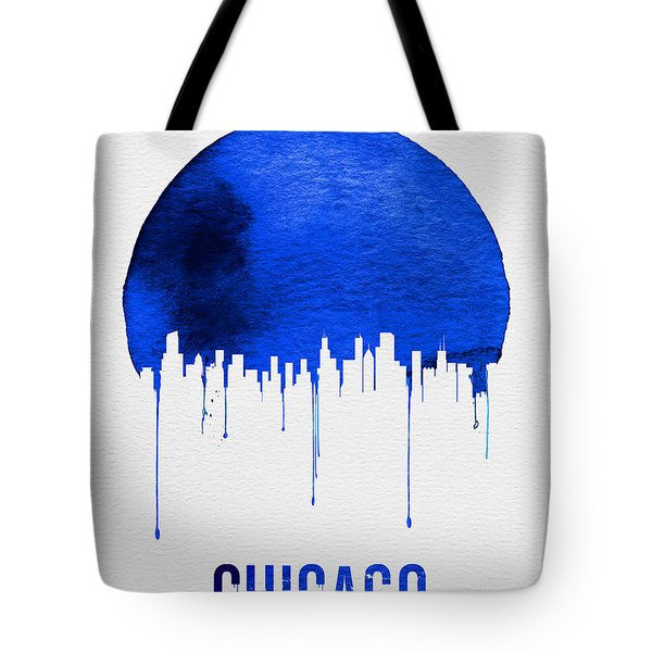 Chicago Skyline Blue Tote Bag by Naxart Studio