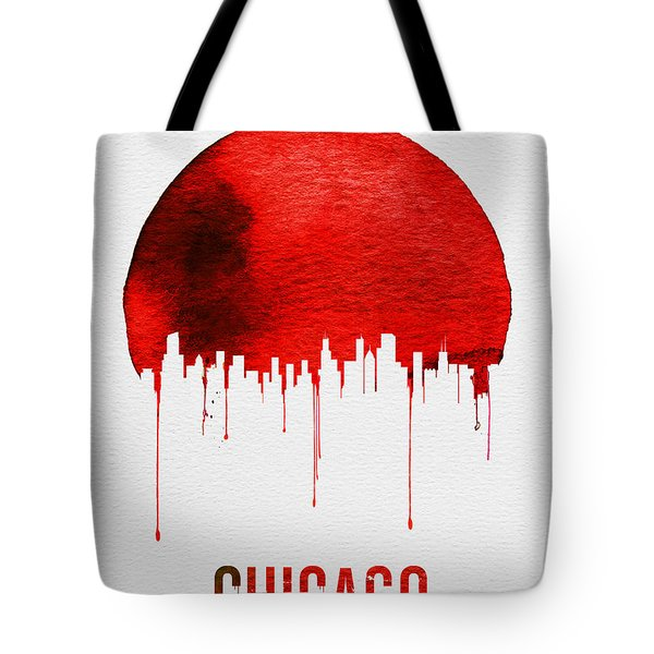 Chicago Skyline Red Tote Bag by Naxart Studio