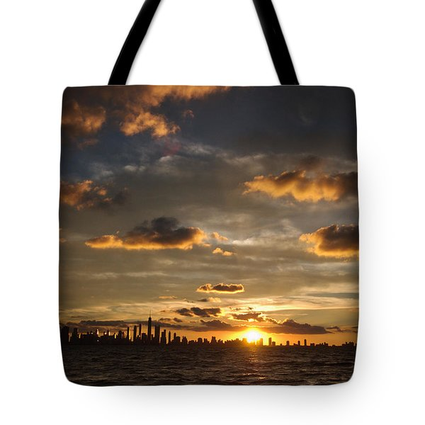 Chicago Skyline Sunset Tote Bag by Steve Gadomski