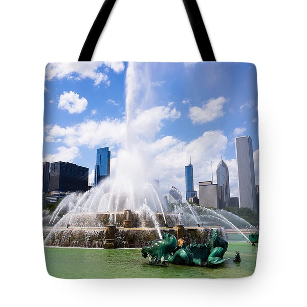 Chicago Skyline With Buckingham Fountain Tote Bag by Paul Velgos