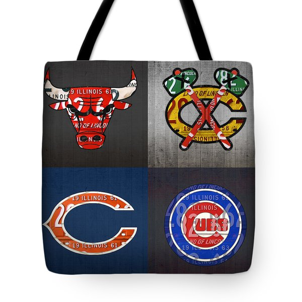 Chicago Sports Fan Recycled Vintage Illinois License Plate Art Bulls Blackhawks Bears And Cubs Tote Bag by Design Turnpike