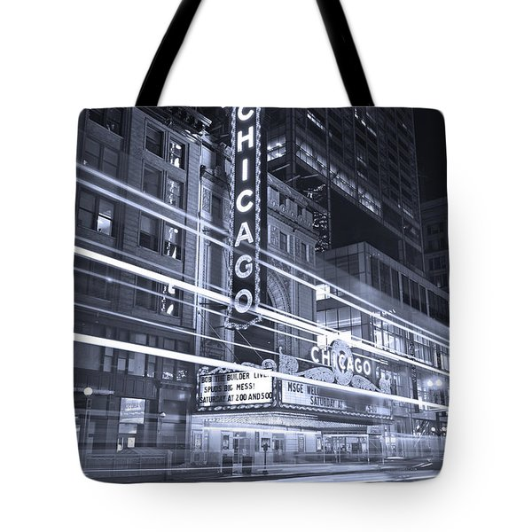 Chicago Theater Marquee B And W Tote Bag by Steve Gadomski
